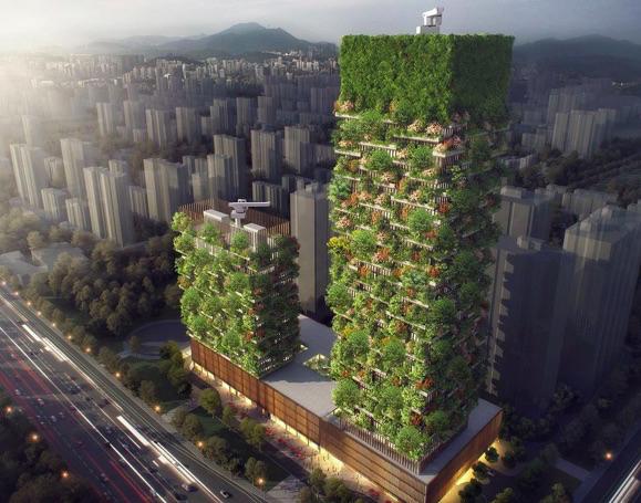 Kínában felhőkarcolókra telepítik a fákat a légszennyezettség leküzdésére