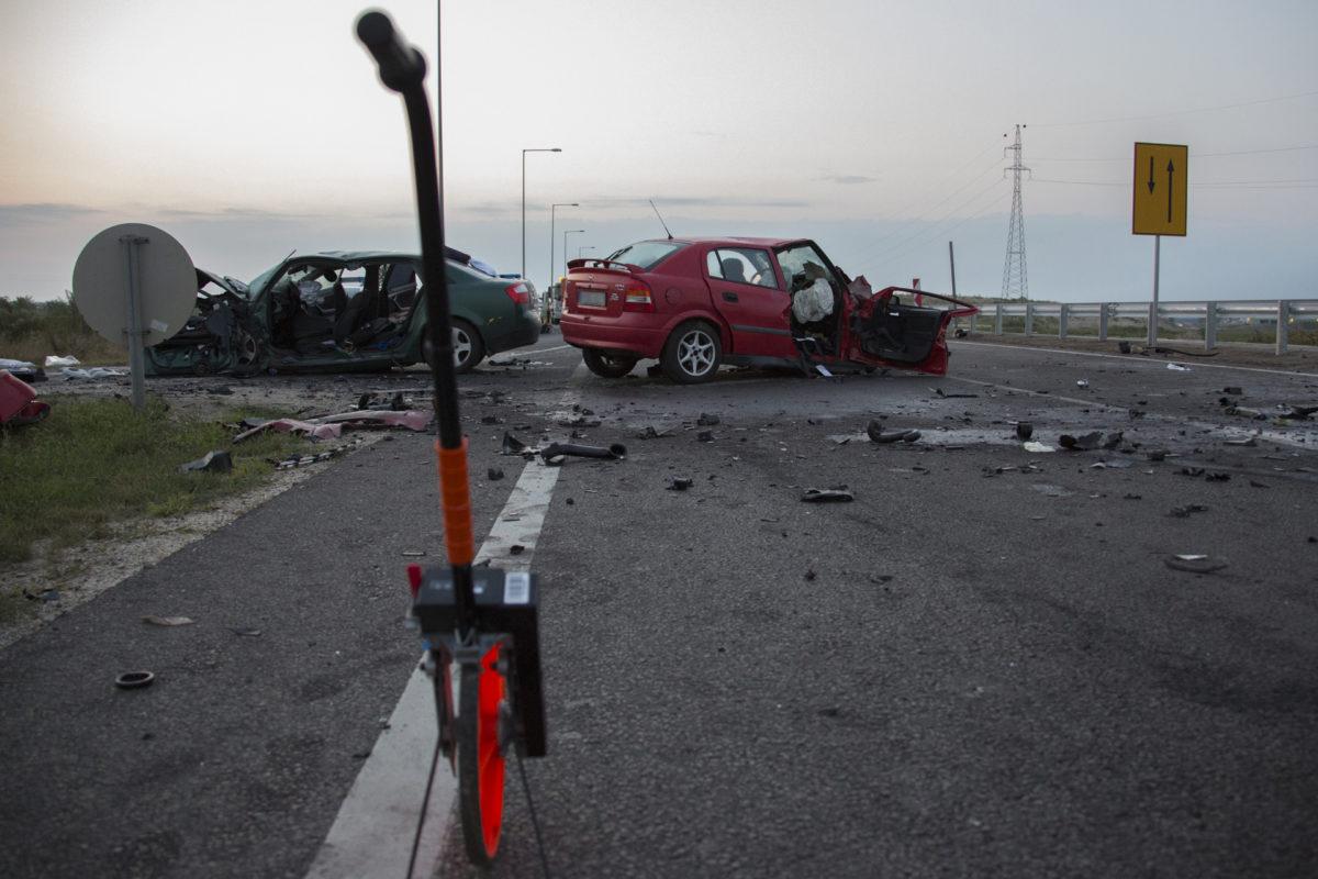 A ceglédi baleset helyszíne (fotó: police.hu)